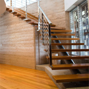 Small Space Single Stringer Stairway with Cable Railing pictures & photos