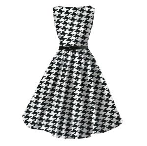 Rockabilly Houndstooth Printing Audrey Hepburn Plus Size Cotton Dress for  Ladies