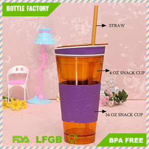 Plastic Snack Water Tumbler with Straw and Silicone Sleeve 16oz pictures & photos
