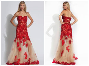 Appliques Red Evening Dress