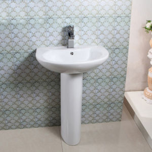 Hot Sale Ceramic Free Standing Bathroom Sanitary Ware Pedestal Wash Basin Sinks
