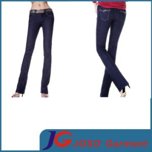 Leather Belt Women Indigo Straight Jeans (JC1205) pictures & photos