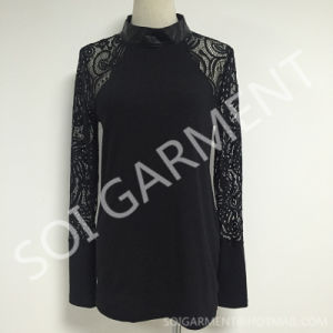 Women Long Sleeve Knit and Lace Blouse with PU (BL-171)