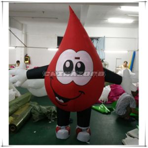 Top Design Red Blood Drop Inflatable Movable Cartoon for Advertising