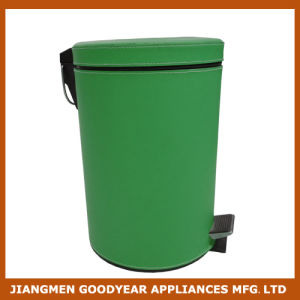 Round Step Trash Can Stainless Green Bathroom Kitchen Trash Can
