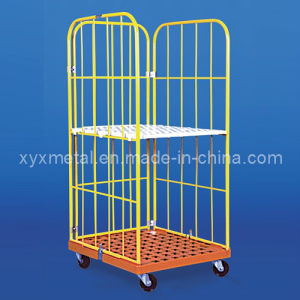 MID East Popular Powder Coated Colorful Roll Pallet Container Cage pictures & photos