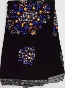 2013 Fashion Velvet Lace Fabric with Crystal Cl4025-Black