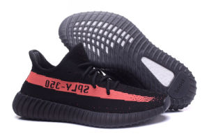 Yeezy 350 Boost V2 Black And Red Color Supreme Sports Shoes