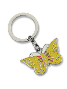 Butterfly Yellow Infilled Metal Key Ring (KC102) pictures & photos