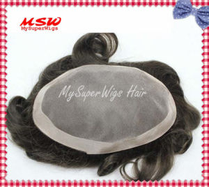 Conventional Base Hand Knotted Human Hairpiece pictures & photos