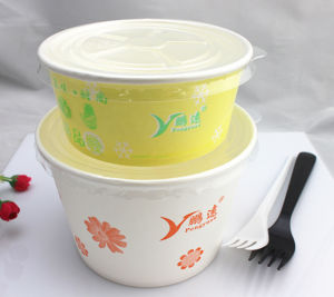 Disposable Take Away Paper Salad Bowl with Clear Plastic Lid pictures & photos