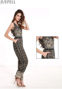 Summer Women New National Wind Printing Sleeveless V-Neck Piece Pants Waist Wide Leg Pants Suit pictures & photos