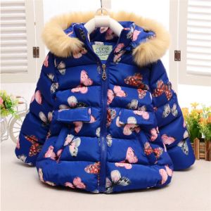 C12811hot Sale Winter Baby Kids Girls Cute Eiderdown Coat Short Hooded Butterfly Thick Outerwear 2-5years Children Baby Cotton Padded pictures & photos