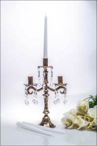 Bronze Three Poster Glass Candle Holder for Wedding Decoration pictures & photos