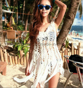 Women High Waist Hollow Crochet Chiffon Vest Dress