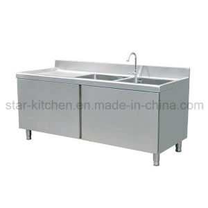 China C01 B04 Stainless Steel Double Kitchen Sink Cabinet With