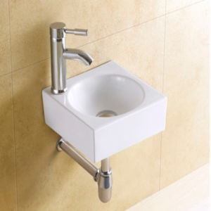 Rectangular Small Size Bathroom Wall Mounted Ceramic Washing Sink
