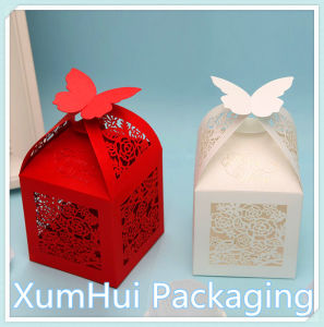 China Wedding Box Red White Hollow Out Beautiful Paper Box Gift Box