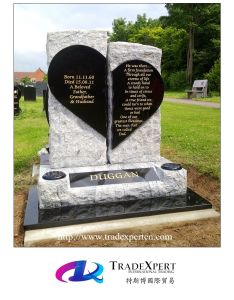 Nature Stone Hand Carved Heart Shape Gravestone with Customized
