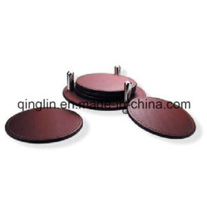 Custom Factory Wholesale Round Shape Cup Coaster with Holder (QL-BD-0011)