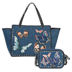 Fashionable Butterfly embroidered Jeans Lady tote Handbag(JD-1)