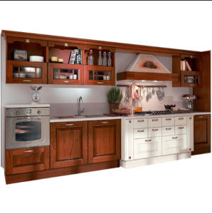 2018 High End Solid Wood Kitchen Cabinet with Cooking Top and Microwave in  Foshan