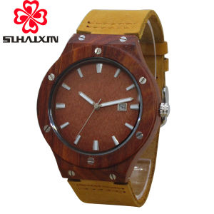 Sihaixin Wooden Watch Men Luxury Brand Unique Design Calendar Auto Date  with Leather Strap Mens Watches Vintage as Clock for Man