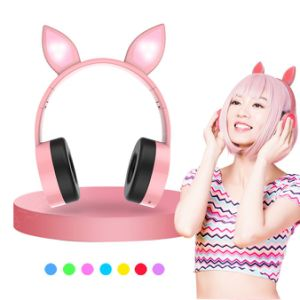 China 2019 Led 7 Color Changing Glowing Earphone Wireless Foldable Auriculares Cat Ear Headphone For Girls Kids China Cat Ear Headphone And Bluetooth Headphone Price