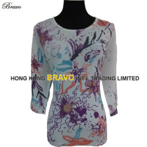 2015 Summer Top Fashion Printing Ladies Round Neck Three Quarter Sleeve Knitted Pullover Sweater (3704J)