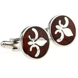 Stainless Steel Cufflink with Rosewood Decoration