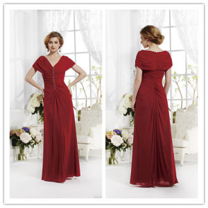 A Line off-The-Shoulder V-Neck Pleats Beads Floor Length Chiffon Mother of The Bride Dress