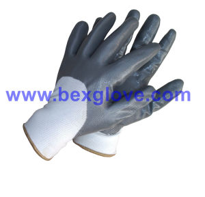 Half Coated Glove, Safety Nitrile Glove pictures & photos