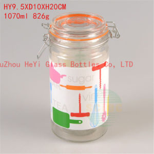 1L Glass Contaier Print Glass Jar Food Glass Seal Jar