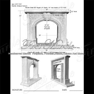 Antique Travertine French Fireplace for Home Decoration Mfp-1021