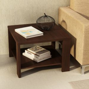 China Double Deck Modern Design Wooden Tea Table Steel Frame Wooden