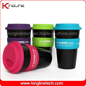 Cheap 500ml Silicone Coffee Cup with Sillicone Band and Cover ODM (KL-CP004) pictures & photos