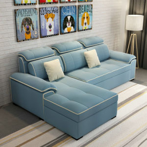 Blue Color Modern Furniture Fabric Folding Sofa Bed (LT-10)