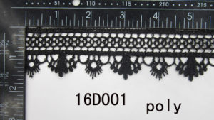 2016 Newest & Special Poly Black Crocheted Lace (16D001)