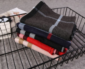 Warm Grid Pashmina Long Cashmere Men′s Scarf for Winter