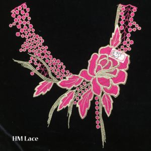 27*30cm High Quality Pink Peony Elegant Collar Lace with Tassels and Spot Fringe Hme955 pictures & photos
