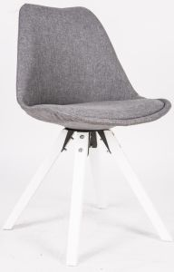 Fully Fabric Covered/White Painted Square Beech Wood Legs Chair
