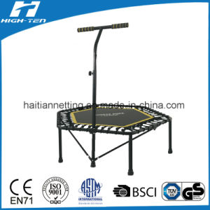 Hexagonal Trampoline with Handlebar and V-Support