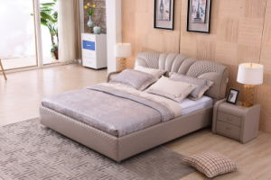 China Modern Bedroom Home Furniture Euro Style Soft Double Leather