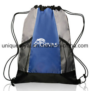 210 Denier Polyester Two-Tone Mesh Drawstring Backpack pictures & photos