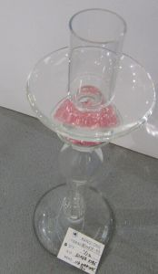 Single Poster Glass Candle Holder with Pink Crystal Stone on Stem pictures & photos