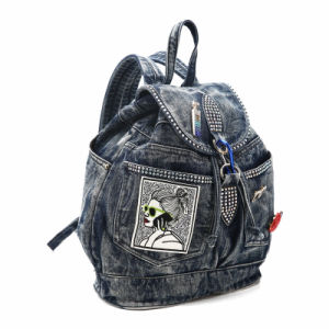 Trending Rhinestone Badges Denim Lady Backpack (MBNO040040) pictures & photos