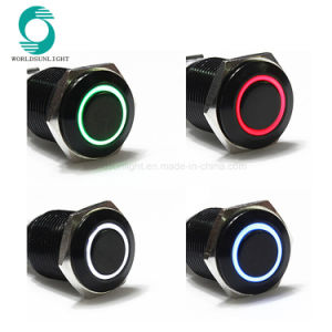 16mm 12V Red LED Light Push Button Toggle Switch Black Shell Metal Sales