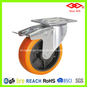"5"" Swivel Plate with Brake PU Caster Wheel (P101-36D125X40S) pictures & photos"