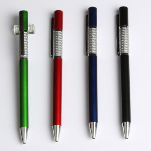 Factory Direct Wholesale Plastic Ballpoint Pen with Silver Ring (EN-P1087)