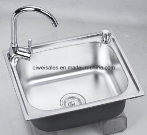 Stainless Steel Handmade Kitchen Sink with Soap Container (QW-H5040)